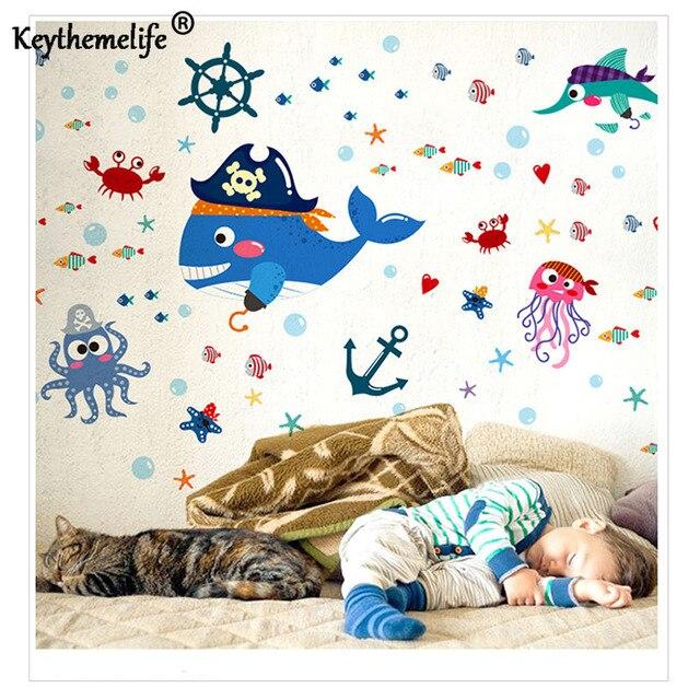 Muurstickers Kinderkamer Piraat.1 Stks Cartoon Kinderkamer Decoratieve Vis Piraat Tv Achtergrond