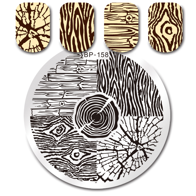 Nail Art Stamping Plate Tree Ring Design Round Stamp Template ...