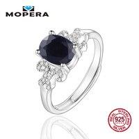 Mopera 925 Sterling Nhẫn Bạc Cho Nữ 1.37ct 6 Màu Sắc Tự Nhiên Đen Sapphire Flower Zircon Trendy Đồ Trang Sức Mỹ Bạc Vòng