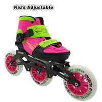 Детский Регулируемый вызов 3 или 4 колеса Inline скорость скейт пакет роликовые коньки роликовые загрузки отрегулировать обувь для ребенка для