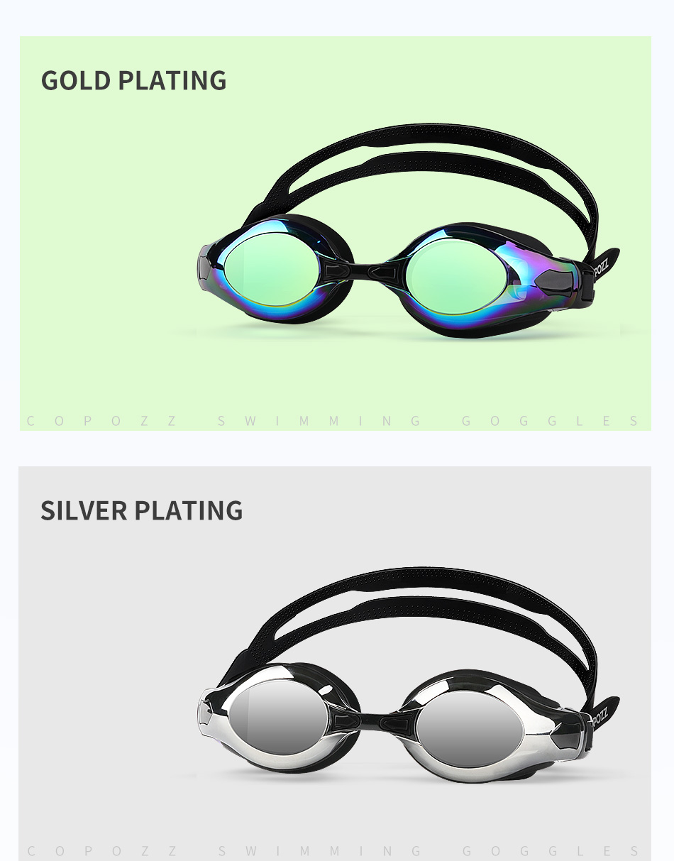COPOZZ Myopia Pro Diopter Swimming Goggles 0 -1.5 to -8 With Double Anti Fog UV Protection 12