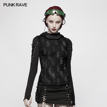PUNK RAVE Women Gothic T-shirt  Fashion Hooded Casual Black Novelty Long Sleeve Personality Punk