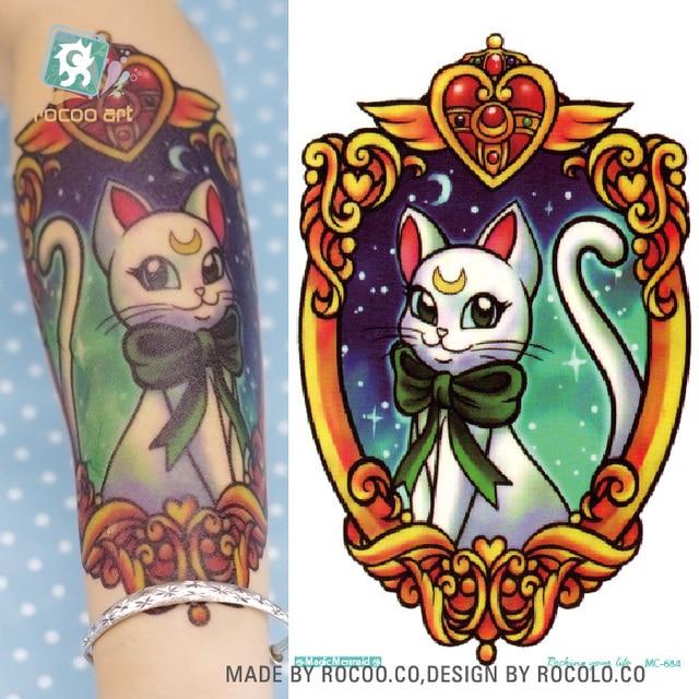 Rocooart sailor moon waterproof temporary tattoo sticker lovely white cat fake tattoo taty men flash tatuagem