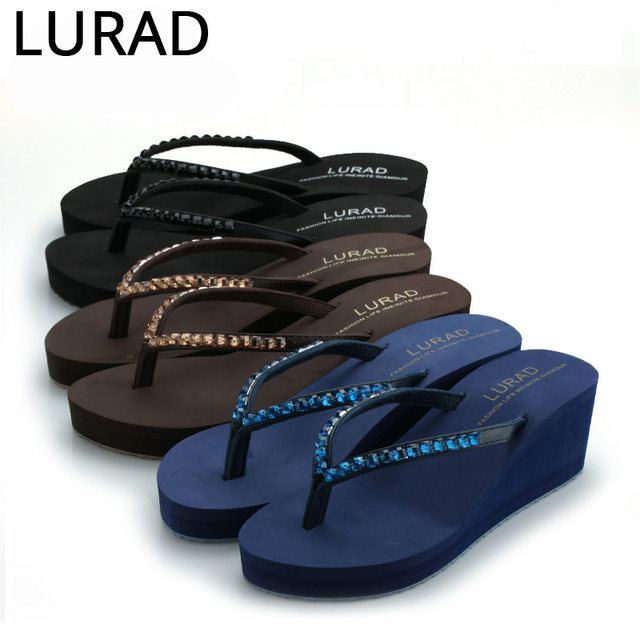 ea178727b877 LURAD 2017 shoes woman High-heeled water brick woman slippers summer beach  sand cool with thick bottom slope with