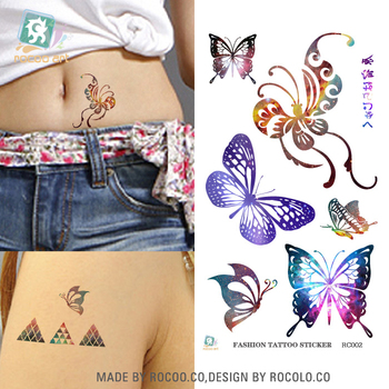 RC-002 Waterproof Disposable Tattoo Stickers Colorful Butterfly Pattern Water Transfer Temporary Wholesale