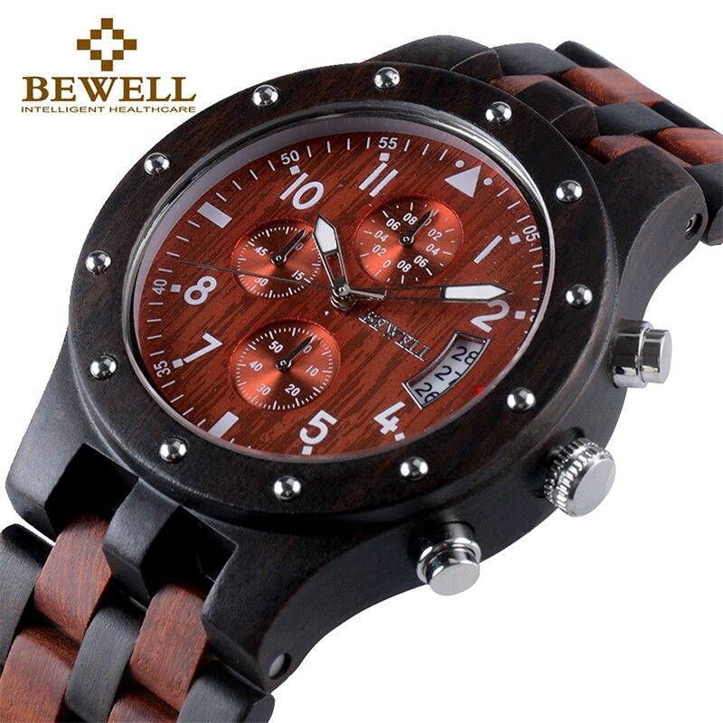BEWELL Bois de Marque De Luxe Hommes Quartz Montre-Bracelet Hommes Sport Étanche Montre Homme Chronographe Horloge Relogio Masculino 109D