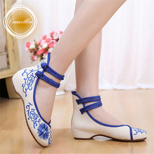 Plus Size 41 Fashion Women's Shoes Sunflowers Flats Casual Embroidery Shoes Soft Sole Cloth Walking Shoes  Red Blue