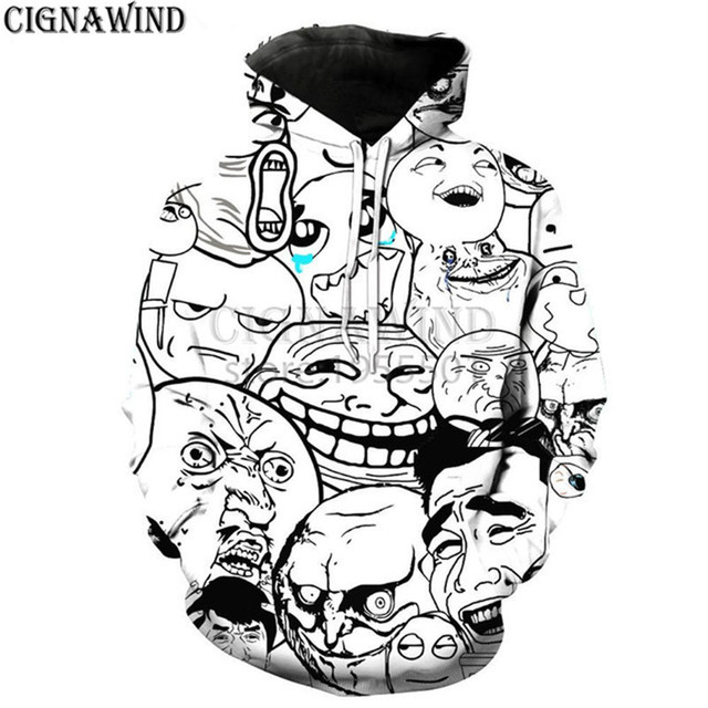 New arrive popular ahegao series hoodies men women 3D print funny Meme Faces most fashion harajuku style streetwear tops
