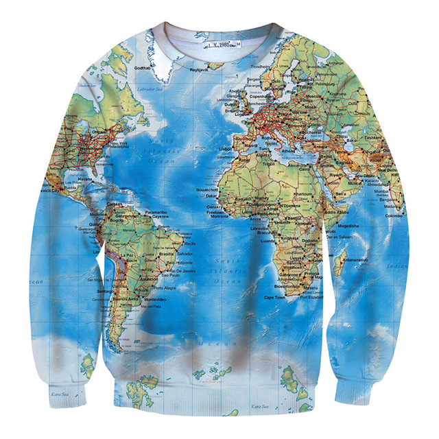 New world map 3d funny sweatshit retro brand clothing womenmen new world map 3d funny sweatshit retro brand clothing womenmen urban casual hipsters long gumiabroncs Choice Image