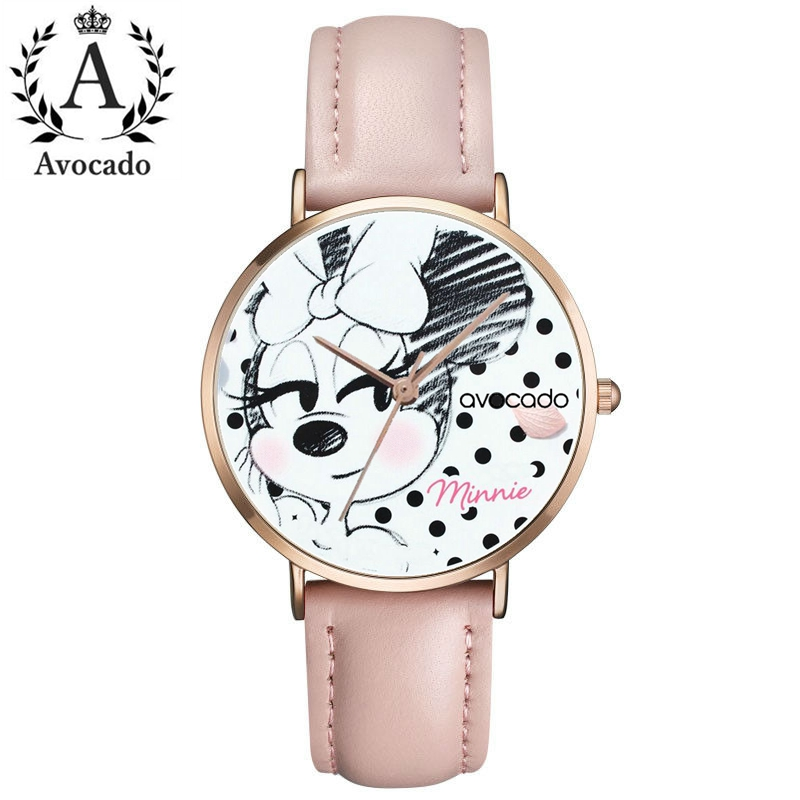 New Minnie mouse cartoon watches pink green leather watch quartz watch for women female ladies