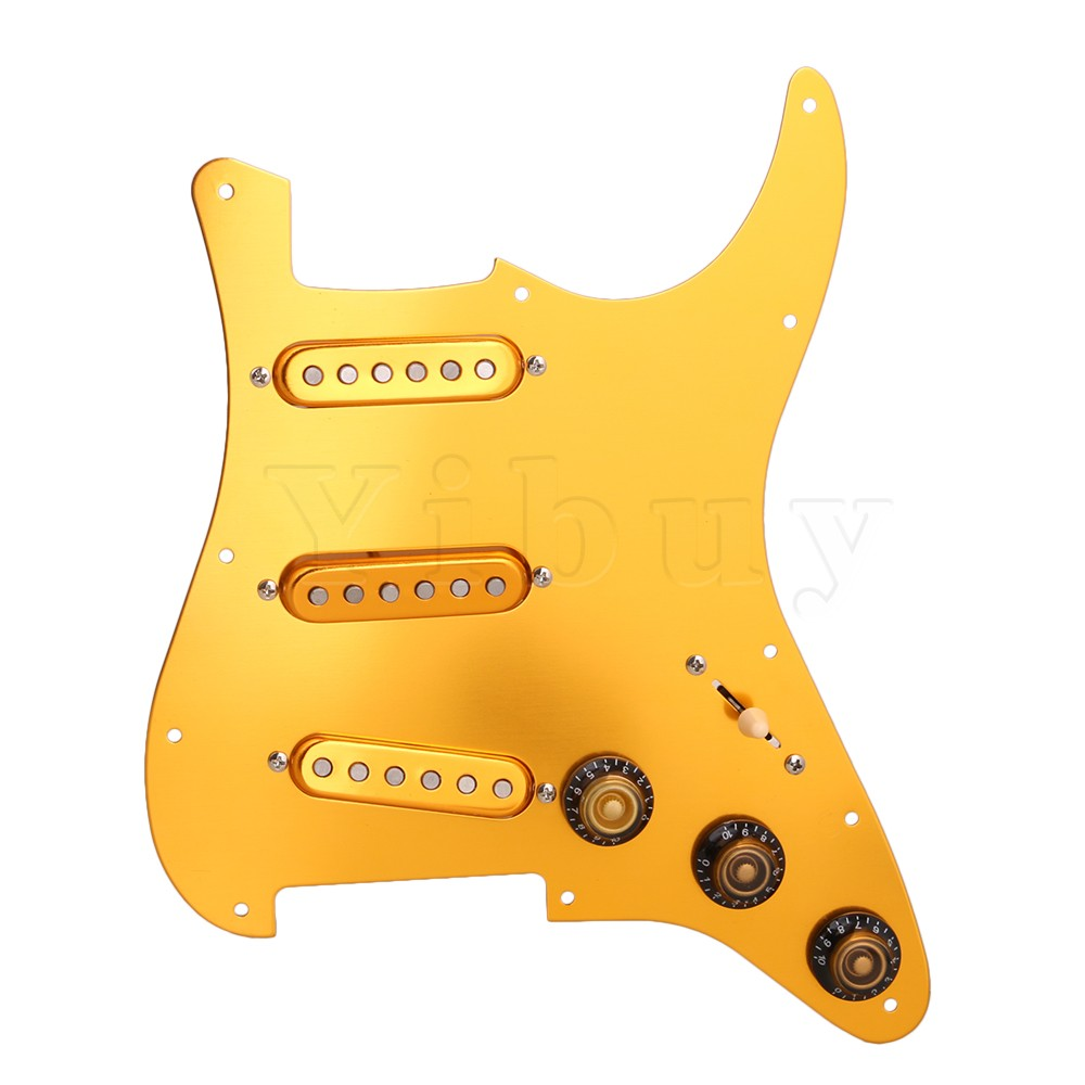 Yibuy Gold Electric Guitar 11 Holes 1-Ply Prewired SSS Pickguard Scratch Plate Set with 1V2T Control Knob & 3-Single Coil Pickup white pearl sss loaded prewired pickguard scratchplate circuit assembly for electric guitar with sss black pickup