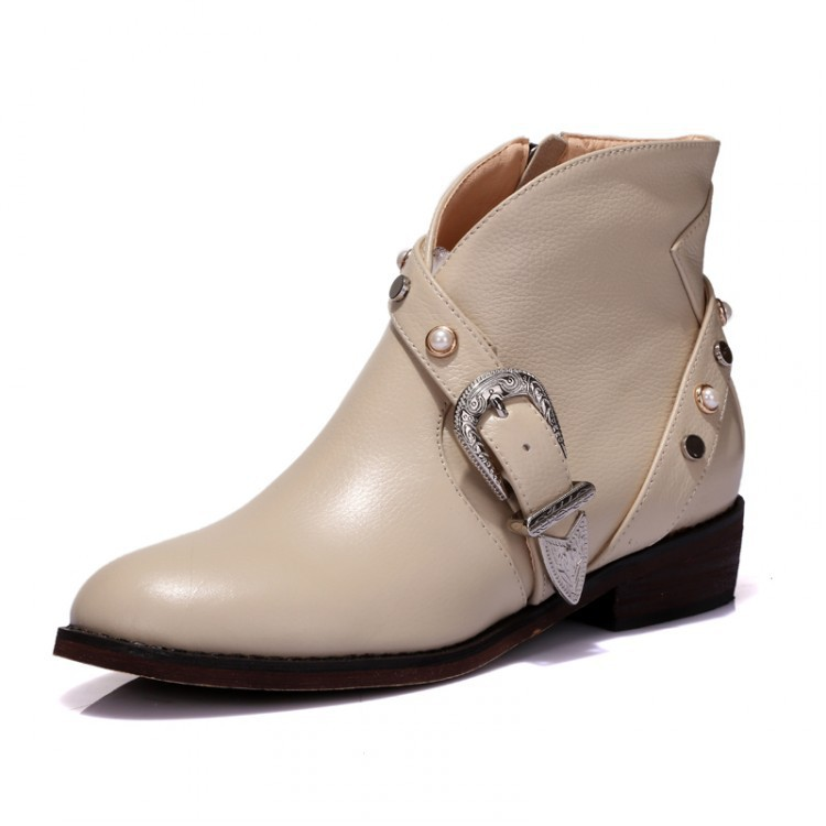 Women Spring Autumn Low Heel Genuine Leather Side Zipper Buckle Round Toe Buckle Fashion Casual Ankle Boots Size 34-39 SXQ0923 women autumn winter genuine leather thick mid heel side zipper round toe 2015 new fashion ankle boots size 34 39 sxq0905