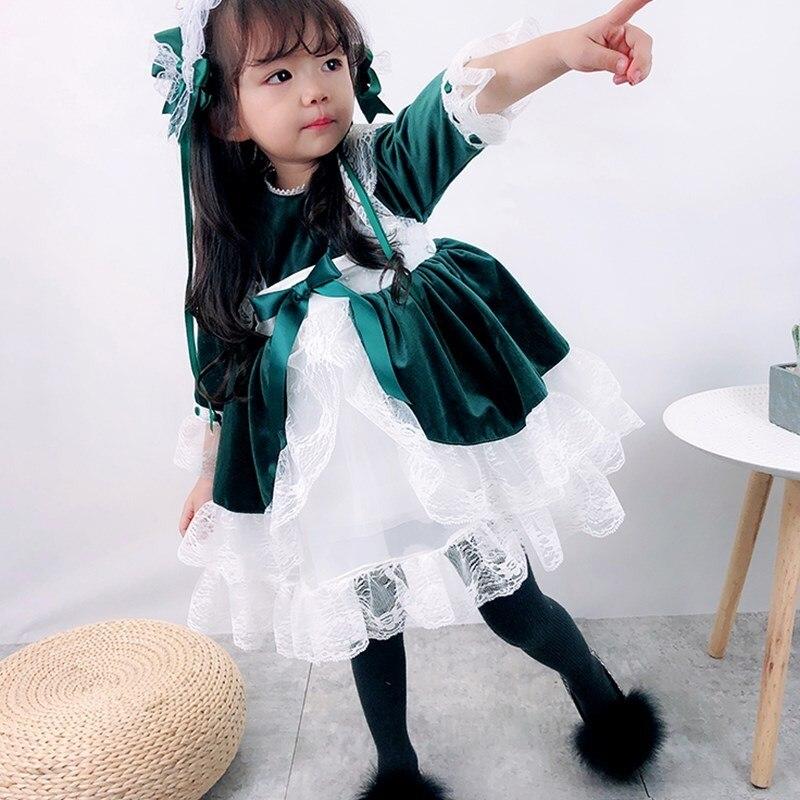 Mode filles de noël robes arc dentelle bébé fille princesse fête Tutu enfants robe de mariée bébé vêtements vert noël espagne Vestidos - 2