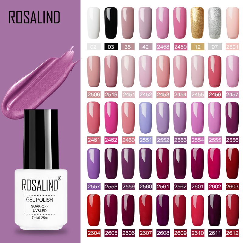 ROSALIND Gel Polish Set UV Vernis Semi Permanent Primer Top Coat 7ML Poly Gel Varnish Nail Art Manicure Gel Lak PolishesNails(China)
