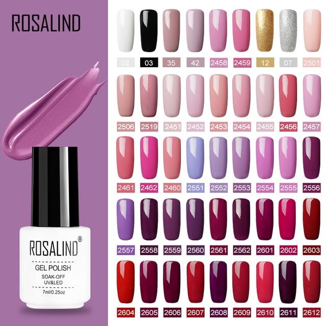 ROSALIND Gel Polish Set UV Vernis Semi Permanent Primer Top Coat 7ML Poly Gel Varnish Nail Art Manicure Gel Lak PolishesNails