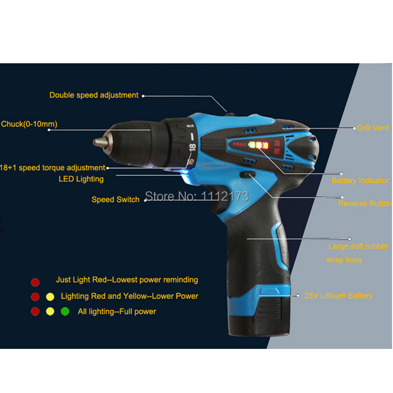 Brand 25V Cordless electric drill bit with 2pcs rechargeable Lithium Battery electric screwdriver power tool + 27pcs accessories 25v cordless drill electric two speed rechargeable 2pcs lithium battery waterproof drill led light