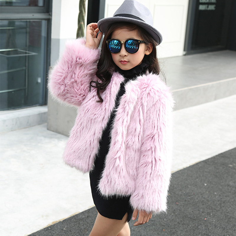 2017 NEW Children Faux Fur Coat Girls Autumn Winter Warm Short Full Solid Coats Babys Clothing O-Neck Fur Thick Solid JackstC#03 new children s real fox fur vest baby girls autumn winter warm short fox fur clothing vest kids solid o neck vests coat v 16