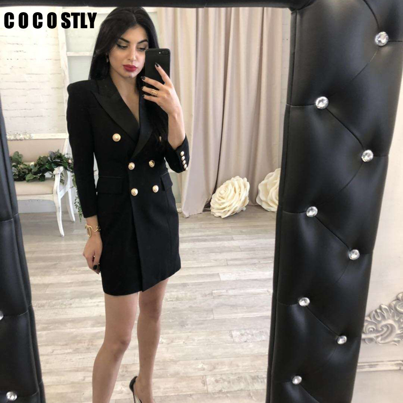 Long Blazer Woman Autumn 2019 New Office Lady Elegant Solid Double Breasted Blazer FemmeThree Quarter Black White Blazer Women