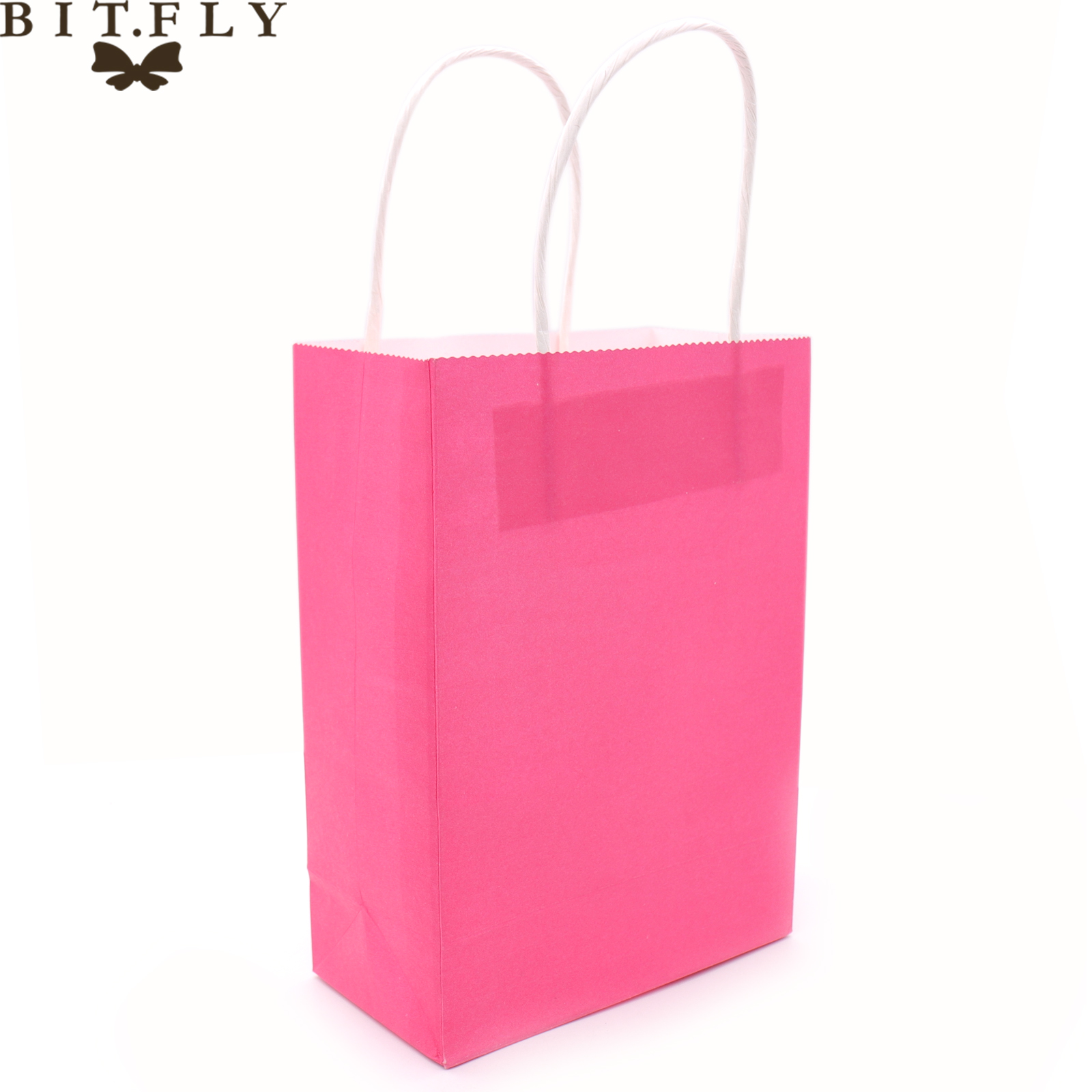 Colorful Small Kraft paper Gift bag with handle Festival jewelry bags wedding birthday party gift package Wrapping Supplies