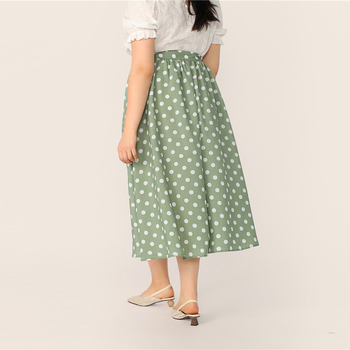 Plus Size Green Polka Dot Button Up A Line Skirt