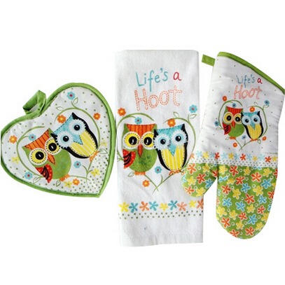 Life S A Hoot 100 Cotton Owl Design Towel Oven Glove Heat Resistant Mat As Kitchen Gift 3pcs Set In Mitts Sleeves From Home Garden On