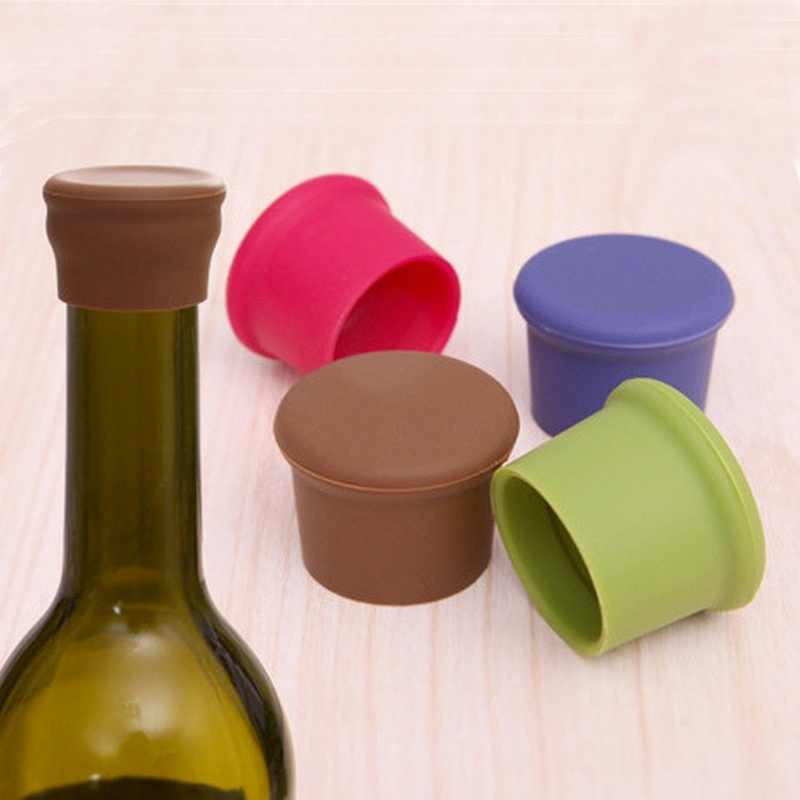 3 pcs Silicone Wine Stoppers 5 Colors Wine Bottle Stopper Kitchen Bar Tools
