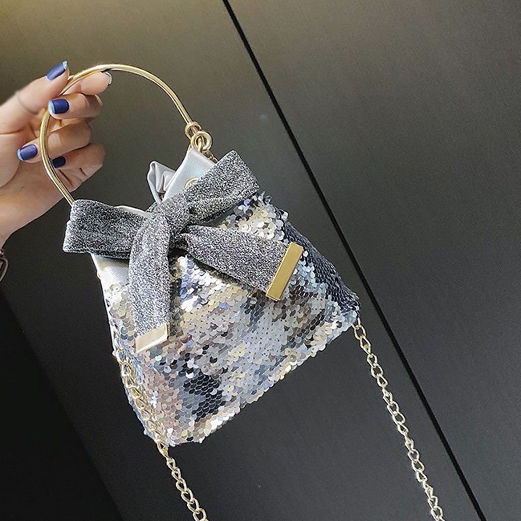 Womens Bag Fashion Metal Bow Sequins Chain Wild Bucket Handbag Messenger Bolsa Masculina Sac Femme Sac Bandouliere Femme 2019