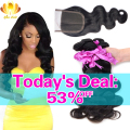 Brazilian Virgin Hair With Closure 8A Brazilian Body Wave With Closure 3Pcs Brazilian Human Hair Weave Bundles With Lace closure