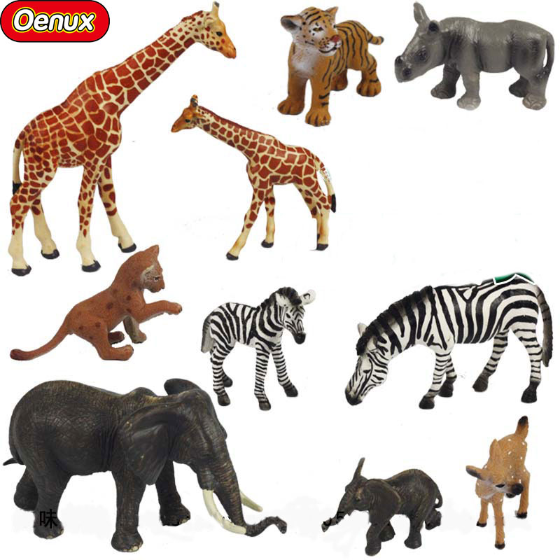Oenux Africa Simulation Wild Animal Tigers Elephant Zebra Leopard PVC Model Action Figures Toys For Collection And Kids Gifts