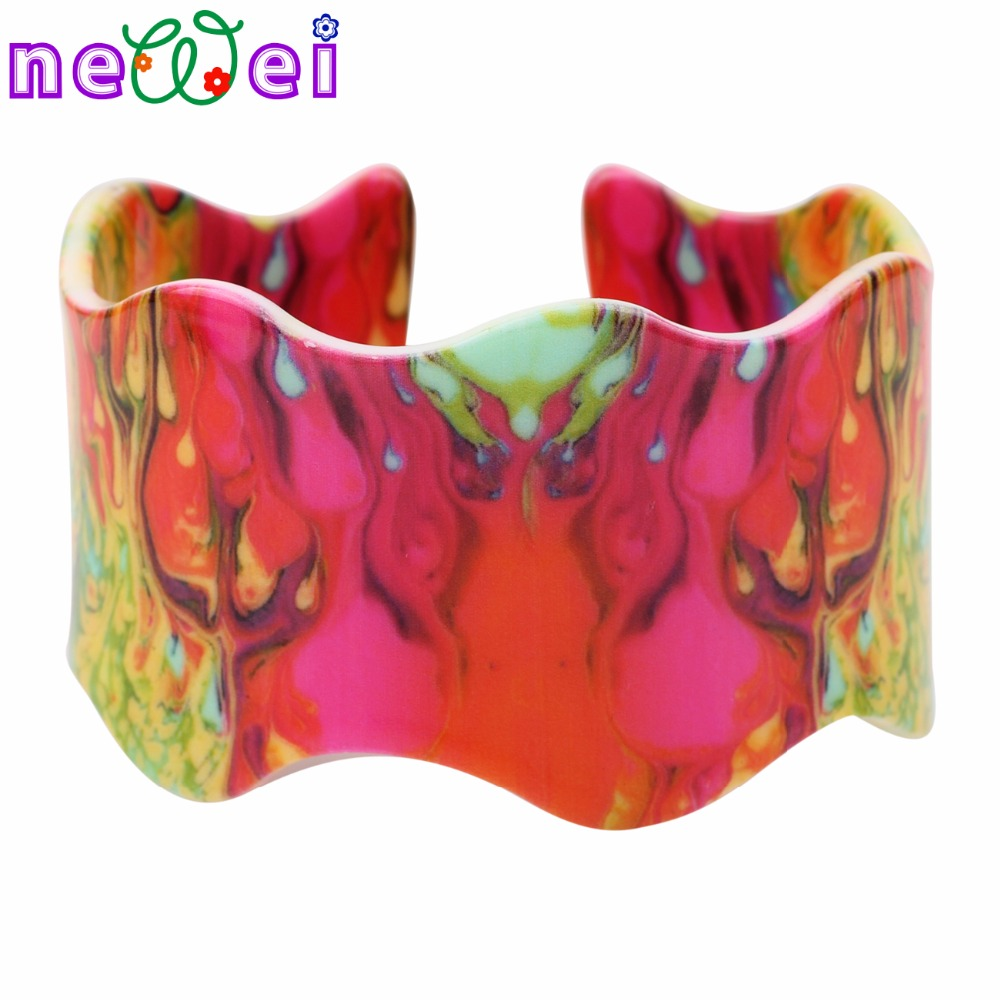 NEWEI Colorful Flame Magma Pattern Wide Bangles Love Bracelets For Women News Fashion Jewelry Bijoux Party Accessories