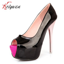 2016 spring summer new PU Patent leather peep toe women candy color platform high heels shoes for club mixed color female pumps