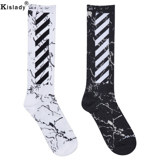 ade5b33e5b8 2019 New Mens Hiphop Compression Socks Kanye West Harajuku Off-white Socks  Fashion Long Sports Socks Luxury Funny Socks Men Gift
