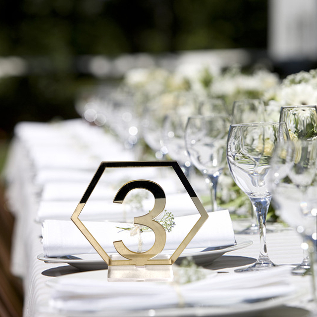 FESTNIGHT Signs Hexagon Table Numbers With Base For Wedding - Table numbers restaurant supplies
