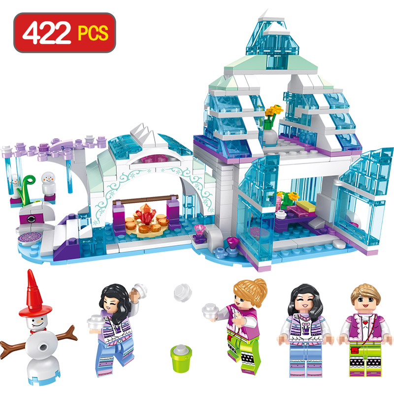 Girl Seties Blocks Compatible LegoINGLY Snow And Ice Dream Snow House Character Action Snowman Diy Bricks Toys For Children Gift