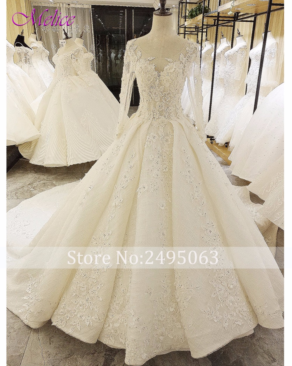8bbb4b04f2121 US $483.79 18% OFF|Fmogl Glamorous Appliques Royal Train Lace A Line  Wedding Dresses 2019 Long Sleeve Beaded Pearls Bridal Dress Vestido de  Noiva-in ...