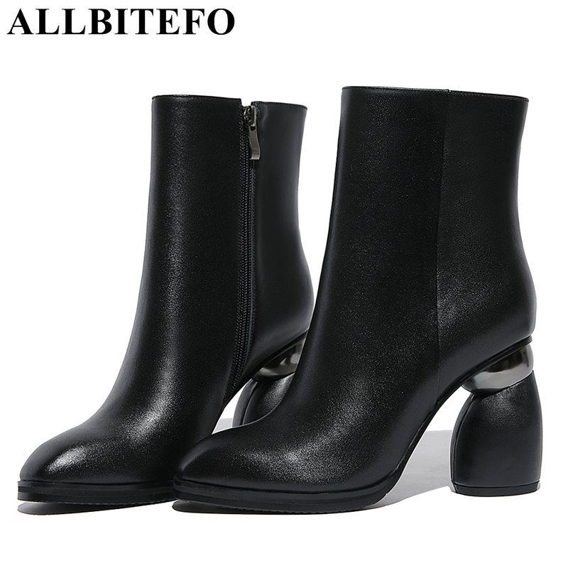 ALLBITEFO Special heel genuine leather high heels women boots brand thick heel high quality winter boots girls boots size:34-42 de la chance winter women boots high quality female genuine leather boots work