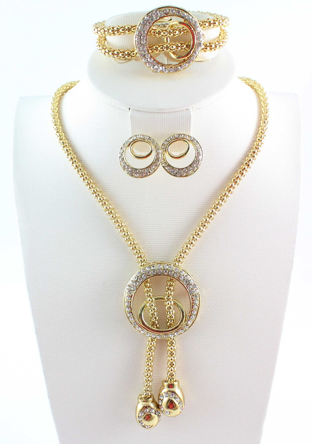 Free Shipping Dubai African Gold Color Costume Jewelry Sets Clear
