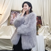 ZDFURS* high quality real fox fur coat fashion import fox knitted fur jacket middle long style hand made fox outerwear