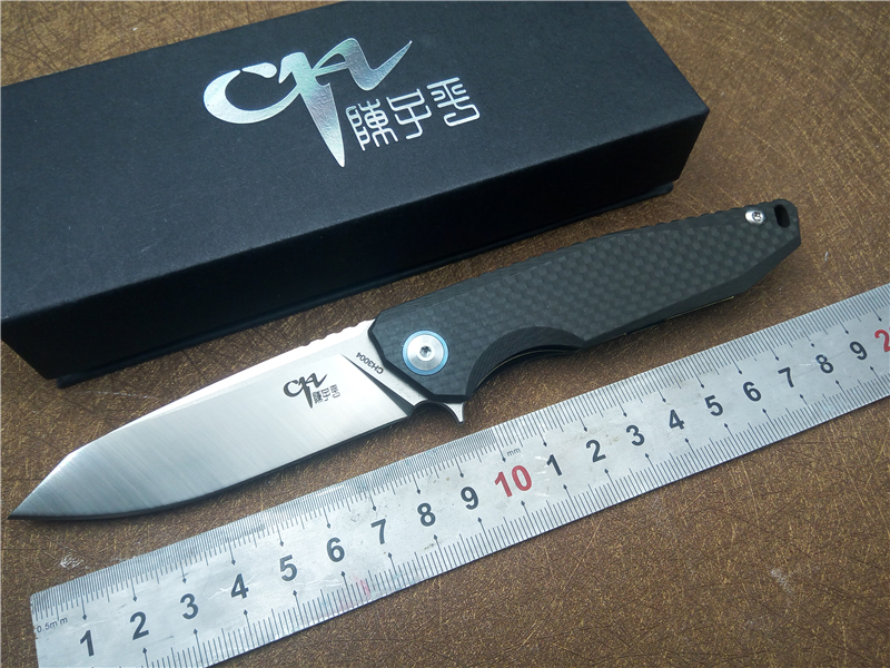 Quality CH CH3004 Folding Pocket EDC knife AUS-8 Blade Titanium&CF handle Ball Bearing Flipper Outdoor camping tactical Knives quality tactical folding knife d2 blade cnc steel handle ball bearing flipper outdoor camping survival pocket knives edc tools