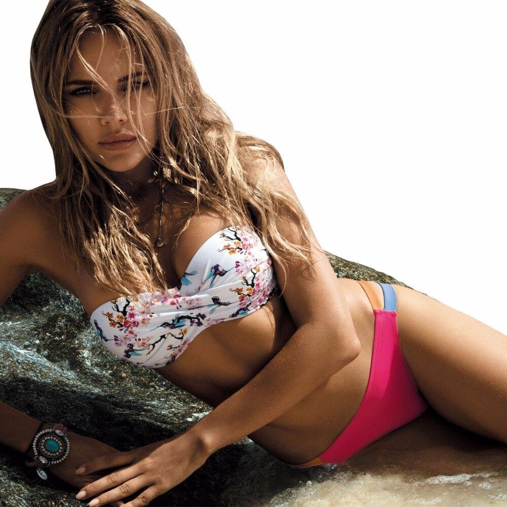 Tengweng 2018 Women Sexy Push up Bikini Bandeau Print Floral Swimsuit Plus size Swimwear Cut out Brazilian Female Bathing suit