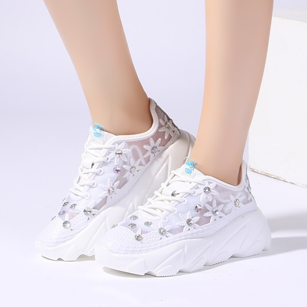 Women White Sneakers Fashion Rhinestone Ladies Platform Shoes Summer Breathable Flower Woman Casual Shoes Zapatillas Mujer 826w