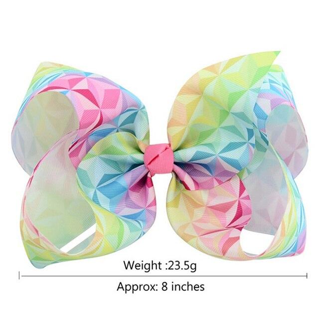 8 Inch Grosgrain Ribbon Bowknot baby hair bows barrettes Rainbow design Girl Clippers Kids Hair Clips Baby Hair Accessory A68