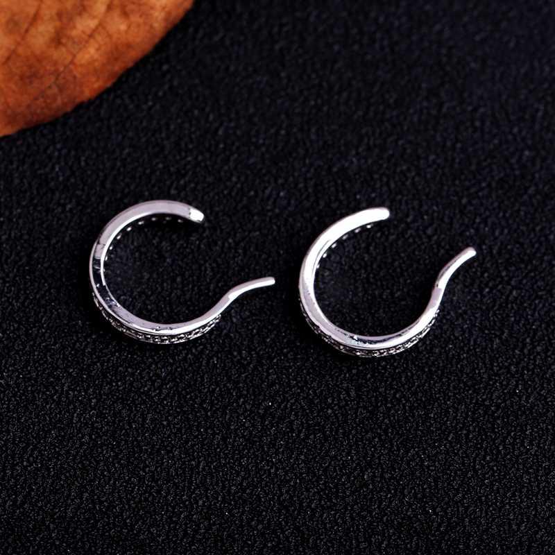 MIGGA Trendy Micro Pavée C Forme Cubique Zircon Cristal Clip Boucles D'oreilles Femmes Bijoux Pas Percé Brincos