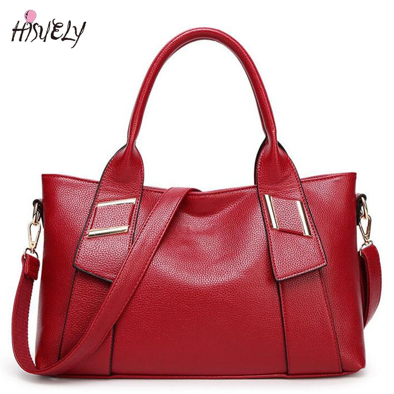 HISUELY New Fashion Pu Leather Simple Bag Large Capacity Tote Handbag Women Shoulder Bag Casual Crossbody Messenger Bag stylish patchwork plaid pu leather handbag women korean style fashion large shoulder bag ladies gorgeous simple crossbody bag