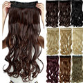SNOILITE 17/24/27/29 Long Curly Synthetic Clip in Hair Extensions Half Full Head Hairpiece 5 clips One Piece Black Brown Blonde