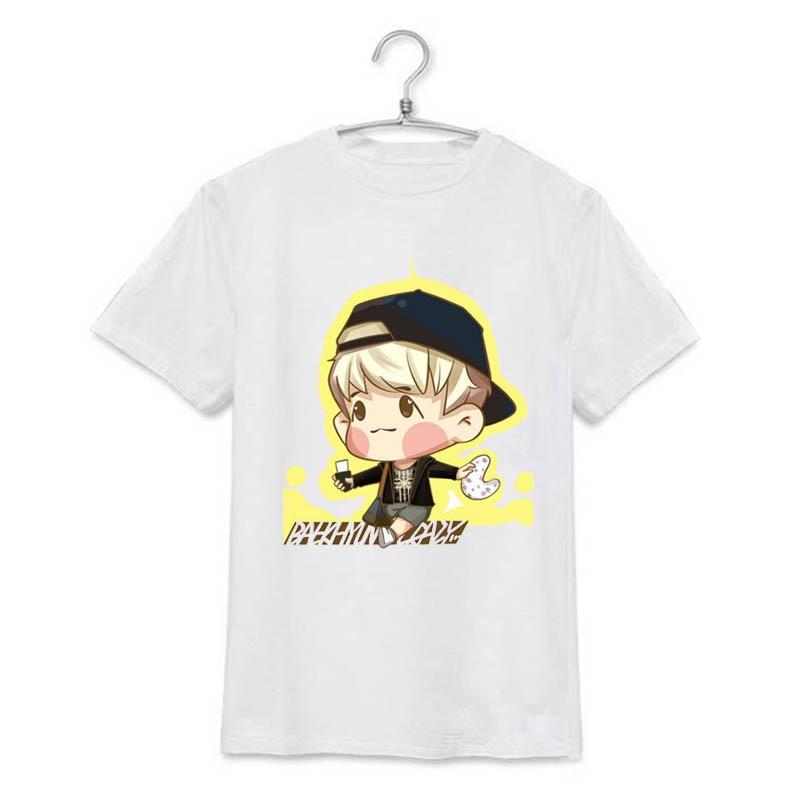 ONGSEONG KPOP EXO SEHUN CHANYEOL Cartoon Album Shirts K-POP Casual Cotton Clothes Tshirt T Shirt Short Sleeve Tops T-shirt DX041