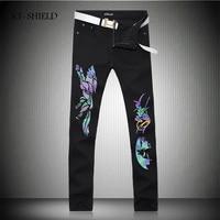 New Black Skinny Jeans Men Fashion Luminous Wolf 3D Printed Animal Painted Stretch Denim Jeans Men Slim Fit Jeans Pants Trousers