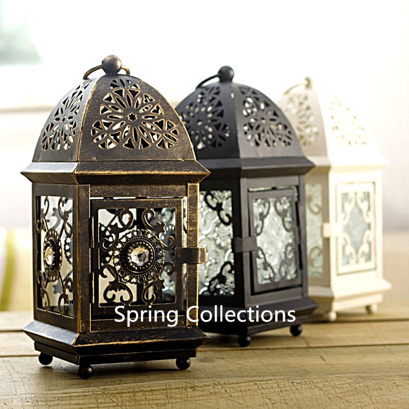 Us 17 99 10 Off 6colorsdecor Metal Wall Hanging Candle Holders Gl Wedding Decoration Candlestick Lantern Maroc Decorative Cage 21cm In