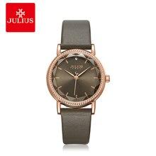 Julius Women Ladies Watches for Women Luxury Simple Fashion Genuine Brand Waterproof Rhinestone PU Strap Gift Clock