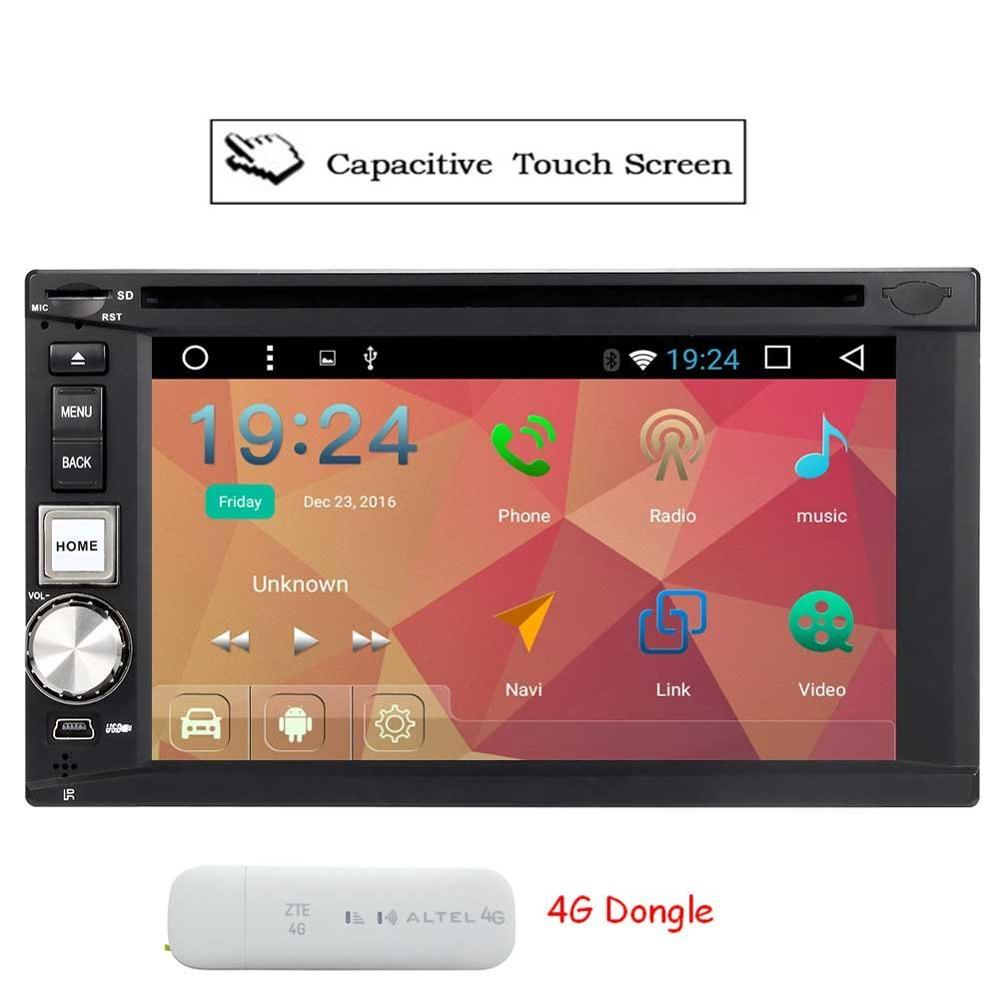 4G Dongle+Android 6.0 Car Radio Player In Dash Double 2 din Car Stereo GPS Navigation support Wifi/SW Control/USB/SD input/OBD2